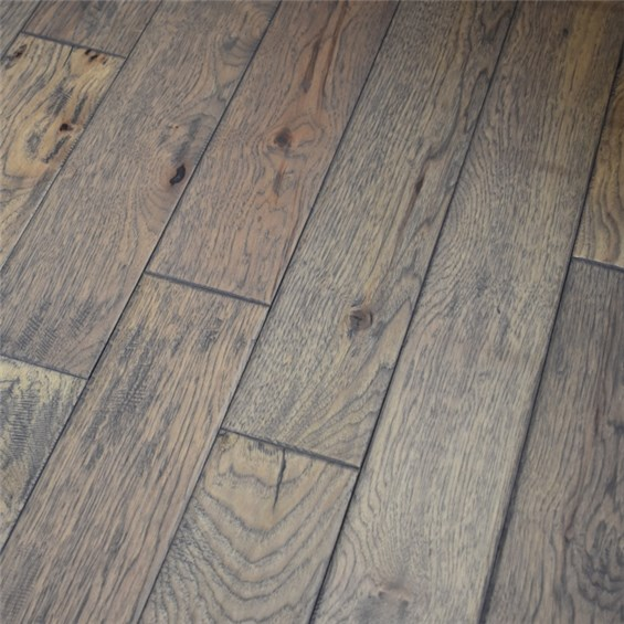 """Where To Buy Cheap Wood Flooring: 5"""" X 3/4"""" Hickory Hand Scraped Prefinished Solid Greystone"""