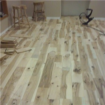 Installed Hickory #3 Common Solid Hardwood Flooring at cheap prices by Reserve Hardwood Flooring